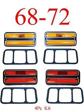 68 72 Chevy 4Pc Deluxe Side Lights Amber & Red, GMC C/K Truck & Blazer