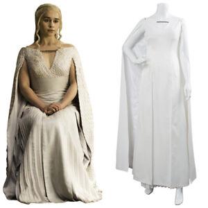 Game Of Thrones 8 Daenerys Targaryen Dany Cosplay Costume Long White Dress Gowns