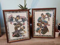 2 x VINTAGE ASIAN / TIBETAN PAINTING ON SILK FRAMED. Framed