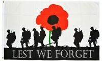 5ft x 3ft 100% Polyester 100d Lest We Forget Soldier Poppy Remembrance Flag