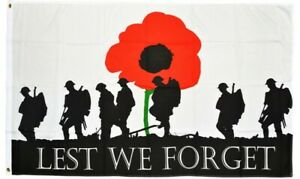 Remembrance Day Flag Lest We Forget 3ft x 2ft Army Soldier Heroes Poppy Flags