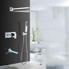 3-Ways Bathroom Rain Bath Shower Faucet Set Mixer Tub Tap with Hand held Sprayer