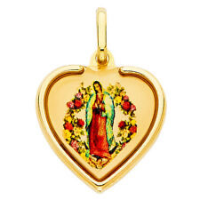 14k Tri Tone Real Gold Lady Guadalupe Virgin Mary Heart Charm Pendant Free Chain
