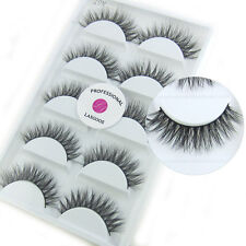 Real Mink 3D False Eyelashes Cross Messy Reusable Fake Eye Lashes Makeup 5 Pairs