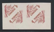 Liberia 341 1953 1c Bird Triangle imperf block missing color error Nh