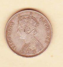 British Empire INDIA, GB Victoria 1 Rupee 1892  Silver coin km # 492   XF