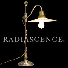 E F CALDWELL INDUSTRIAL MACHINE AGE BRASS SILVER TABLE LAMP 1910s OC WHITE ERA