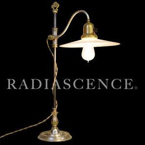 E.F. CALDWELL INDUSTRIAL MACHINE AGE BRASS SILVER TABLE LAMP 1910s OC WHITE era