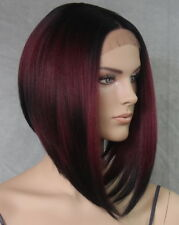 Bob Cut New Lace Front Wig Burgundy Mix short Heat Safe Hair piece WELY