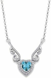 Simulated Aquamarine Angel Wings Heart Pendant Prong Set In 10K Solid Gold