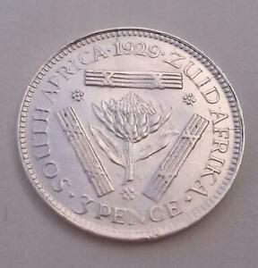 South Africa 1929 Silver Threepence Coin Good Extra Fine