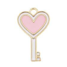Wholesale Colorful Alloy 23x13mm Heart Top Key Charms Pendant Accessories 30pcs