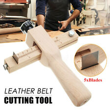 Adjustable Belt Leather Cutter Tool Strip Strap Cutting Hand Wooden + 5 Blades