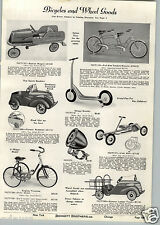 1941 PAPER AD Pioneer Pedal Car Toy Roadster Ladder Truck Station Wagon Hand Car