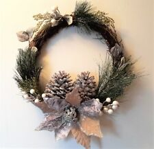 """Silver and Pine Accented Snow Frosted Twig WREATH 16"""" Holiday Christmas"""