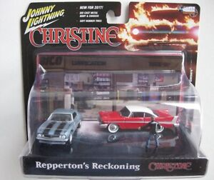 CHRISTINE 1958 PLYMOUTH FURY & 1967 CHEVY CAMARO & FIGURE DIECAST SCALE 1/64 NEW