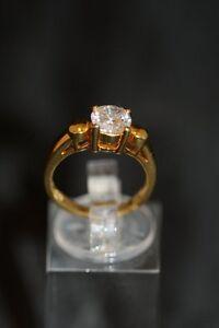 Ring , 925er Silber vergoldet mit Zirkonia , Ringgröße 53 /s20