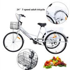 3 Ruote Trike 24''triciclo per adulto 7 Marce Shimano Cesto Argento bicicletta