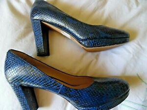 Clarks - Dark Blue/Black Snake Print Leather Platform Court Shoes - EU 39