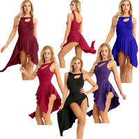 Adult Womens Sleeveless Ballet Dress Gymnastics Asymmetric Leotard Dance Costume