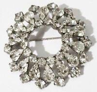 broche bijou vintage ronde cristal swarovski diamant couleur argent * 3528