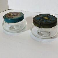 Vtg Antique Floral Glass Vanity Powder Trinket Jar Metal Floral Lid