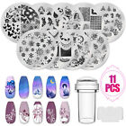 11PCS Clear Silicone Nail Art Stamping Template Kit Plate Stamper Scraper Set US