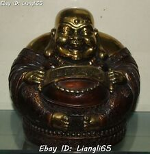 "11"" Chinese Bronze Gilt Wealth Money Coin Happy Laugh Maitreya Buddha Statue"