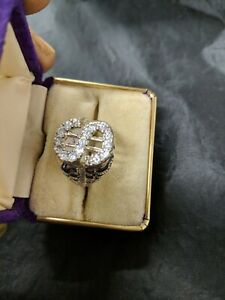 Large  Size W aprox Cubic Zirconia Dollar Sign Sterling Solid Silver Ring