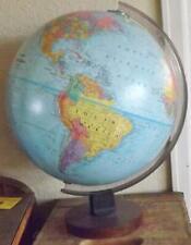 "Globe Replogle World Nation Series 12"" Wood Base Desk Top Relief Post 2003 *"