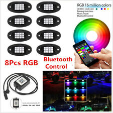 8 Pcs RGB LED Autos Under Body Chassis Lights Rock Neon Lamps Bluetooth Control
