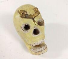 Vtg Boy Scout Kerchief Slide Skull Folk Art Carved Painted OOAK BE PREPARED