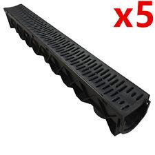 5 x Drain Channel Deep Drainage Plastic PVC Water Rain Storm Shower Wetroom 1m