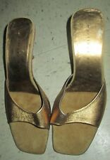 MARTINEZ VALERO Butter Leather GOLD DUST Kitten Heel SLIP ON SANDALS HEELS 6B
