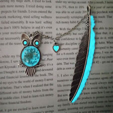 Retro Silver Love Heart Owl Feather Luminous Bookmark Page Marker Stationery G