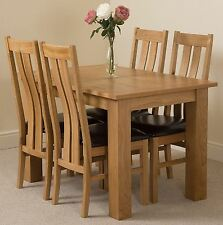 Hampton Extending Kitchen Solid Oak Dining Table and 4 Solid Oak Leather Chairs
