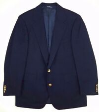 Polo Ralph Lauren Blue Blazer Mens 42R Gold Tone Metal Buttons Wool USA 2 Button