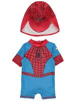 Baby Boys UV Surf Suit and Hat UV Sun Protection Spiderman Sunsafe NEW BNWT