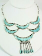 VINTAGE NATIVE AMERICAN TURQUOISE INLAY NECKLACE BIB FREE SHIPPING!