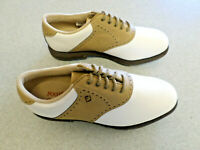 """NEW Footjoy """"GreenJoys"""" white and tan leather golf shoes, Women's 6.5 M"""
