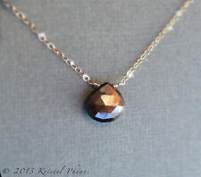 SALE Genuine Sapphire Necklace - golden chatoyant chocolate 14k gold-filled