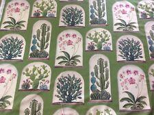 Sanderson Curtain Fabric 'TERRARIUMS' 1m Botanical Green 100% Cotton