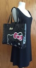 LOUNGEFLY Sanrio Hello Kitty Shopper Tote Bag Quilted Black Shiny X-Large