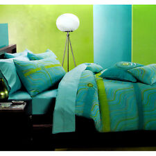 3 Pce - Kady Aqua Green Lime Sequins Quilt Cover Set - KING