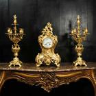 Large Japy Freres Antique French Rococo Gilt Bronze Clock Set