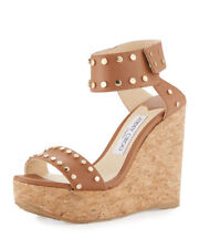 Jimmy Choo Nelly Studded Cork Wedge Sandal Brown MSRP: $695.00 Size 41