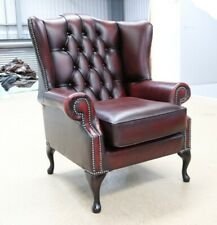 CHESTERFIELD BLOOMSBURY QUEEN ANNE HIGH BACK WING CHAIR VINTAGE RED LEATHER
