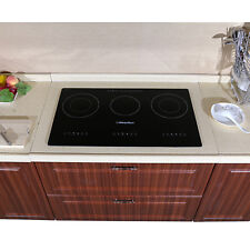 "29.5"" Electric Induction Cooktops 3 Burners Black Glass Plate Hob Smooth Surface"