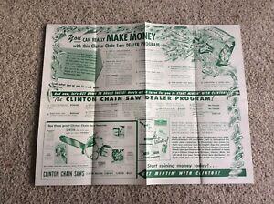 1950s Clinton chain saw original dealership  dealer program  advertising  poster