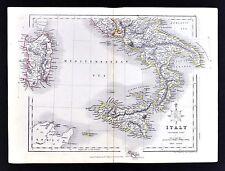 c. 1849 Archer Map - South Italy - Rome Naples Vesuvius Sicily Sardinia Palermo